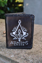 Porte-cartes en cuir, motif logo d'Assassin's creed